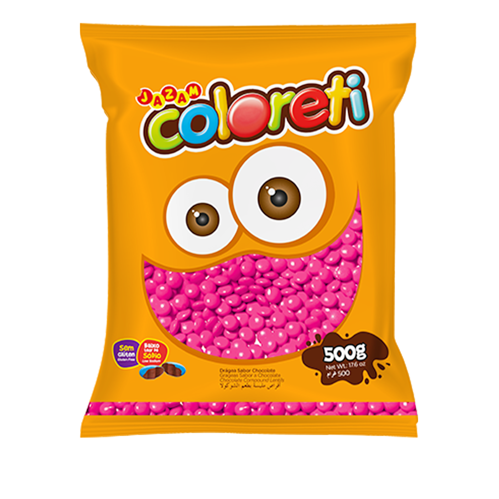 [67158] Confeito Mini Rosa Coloreti Jazam 500g